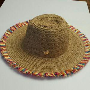 Betsy Johnson NWT Straw Beige Hat With Fringe